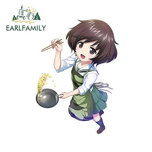 A/X 13 cm 9,6 cm para Chica de Anime Que Cocina Pegatinas de Coche Finas Pegatinas de Material de Vinilo Ventanas Impermeables adecuadas para Van RV