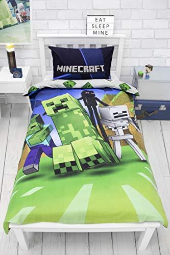Minecraft Creeps - Funda de edredón para Cama Individual, con Licencia Oficial, Reversible, diseño de Dos Caras con Funda de Almohada a Juego, polialgodón, Color Azul