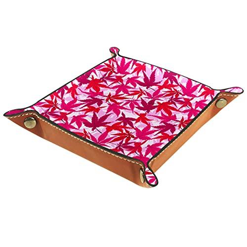 Faltbare Rolling Dice Games Tablett Leder Quadratische Schmuckschalen Und Uhr, Schlüssel, Münze, Süßigkeiten Aufbewahrungsbox Japanisches Aquarell Rosa Ahorn Blattmuster