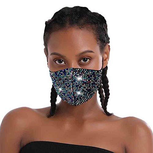 Olbye Rhinestone Mesh Mask Sparkling Masquerade Mask Bandana Decorative Face Cover Ball Party Nightclub Venetian Mardi Gras Jewelry for Women and Girls