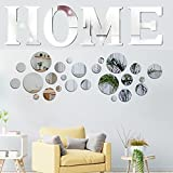26 PCS Acrylic Circle Mirror Wall Stickers Home Sign Letters, Acrylic 3D Home Decal, Removable DIY Self-Adhesive Mirror Wall Stickers Home Decorations for Bedroom Living Room Farmhouse Decor