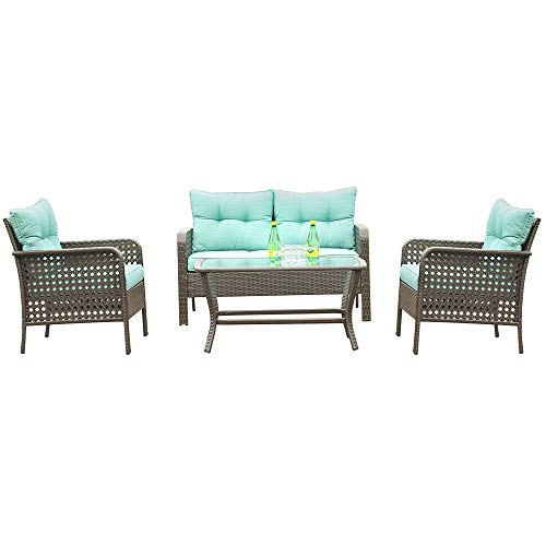 Patio PE Wicker Furniture Set 4 Pieces,All Weather Patio Conversation Sets of 2 Single Sofas,1 Loveseat and Tempered Glass Table Top,Outdoor Chat Set Conversation Set for Backyard Yard,Garden (Green)