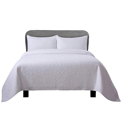 Soul & Lane Inner Circle 100% Cotton White 3-Piece Quilt Set - King with 2 Shams | Solid Modern Quilted Bedspread