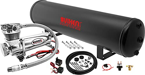 Vixen Air Suspension Kit for Truck/Car Bag/Air Ride/Spring. On Board System- 200psi Compressor, 5 Gallon Tank. for Boat Lift,Towing,Lowering,Leveling Bags,Onboard Train Horn,Semi/SUV VXO4852C