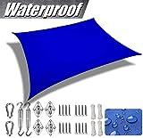 SUNDUXY Toldo Vela de Sombra Rectangular Poliéster Impermeable protección Rayos UV y Transpirable Aislamiento de Calor para Patio, Jardines, terrazas, Jardines, Piscinas,Azul,2x5m/6.5' x16'