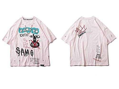 GVDFSEYL T-shirt met graffiti-opdruk en ketting Harajuku Hip Hop Casual Streetwear T-shirt heren mode T-shirt korte mouwen top