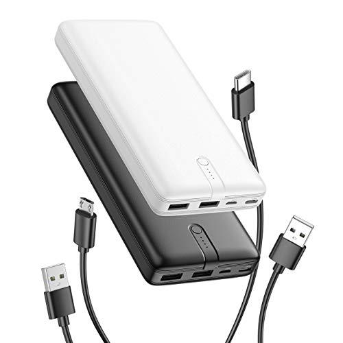 IEsafy - Batería externa para Samsung Galaxy Huawei, iPhone LG (2000 mAh, 2 paquetes de energía con 2 salidas y 2 entradas y fuente de alimentación portátil, color negro y blanco