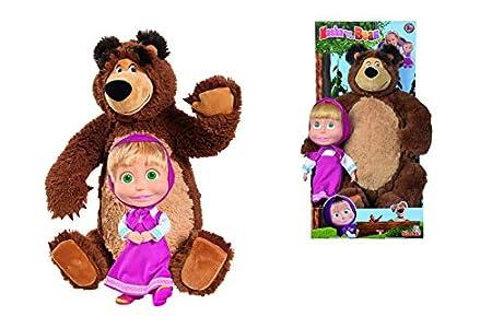 Muñeca Masha de 23cm y peluche del Oso de 43cm de Masha y el Oso (Simba 9301016)