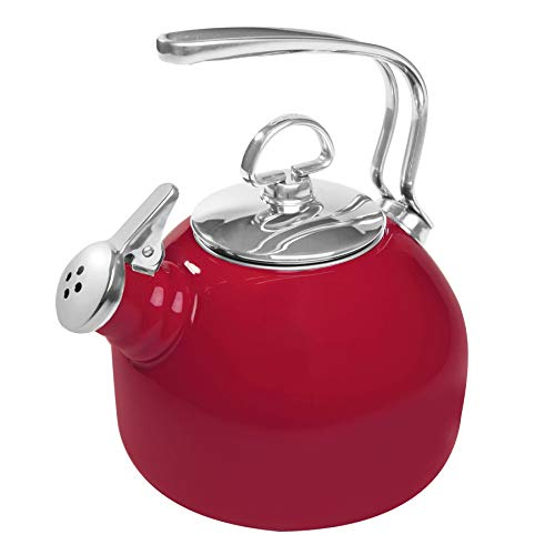 Chantal Classic Enamel-on-Steel Whistling Teakettle, 1.8 quarts, Apple Red