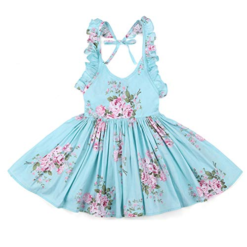 Flofallzique Summer Girls Dress Vintage Floral Casual Toddler Party Clothes Sleeveless(5,Blue)