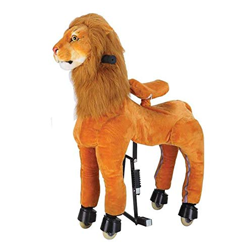 MMRLY Mechanical Horse, Action Pony,Ride on Horse Lion Walking Animal Plushtoy,Wheeled No Battery &Electricity for Kids Birthday, S