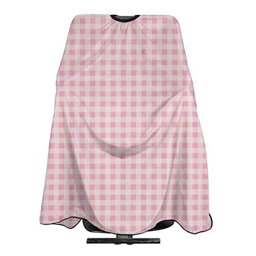 Tablier de coiffure professionnel en tissu vichy rose imperméable pour homme et femme - 140 x 168 cm