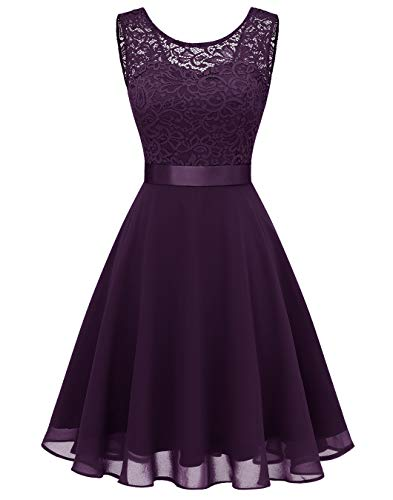 BeryLove Women's Short Floral Lace Bridesmaid Dress A-line Swing Party DressBLP7005GrapeS (Apparel)