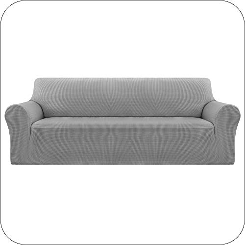UMI by Amazon Funda Sofa Suave Elastica de Color Liso 3 Plazas Gris Claro