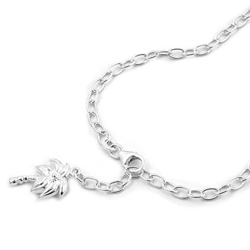 Kette Fußkette Fußkettchen Ankerkette mit Palme Damen aus 925 Silber Länge 25 cm Breite 3 mm, Länge variabel einstellbar