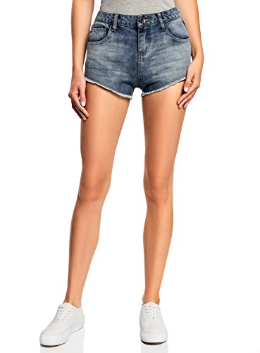 oodji Ultra Damen Jeans-Hotpants, Blau, W26 / DE 34 / EU 36