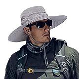 Cooltto sombrero del pescador,gorro de pesca,50+ uv protección solar de ancho borde sombrero-rápido seco transpirable plegable impermeable ajustable,para la actividades al aire libre-gris claro