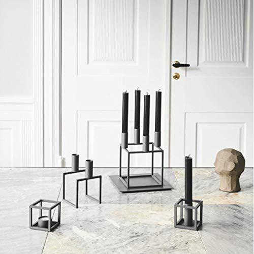 By Lassen - Kerzenleuchter, Kerzenständer - Kubus T - Farbe: Grau - Maße: 7 x 7 cm