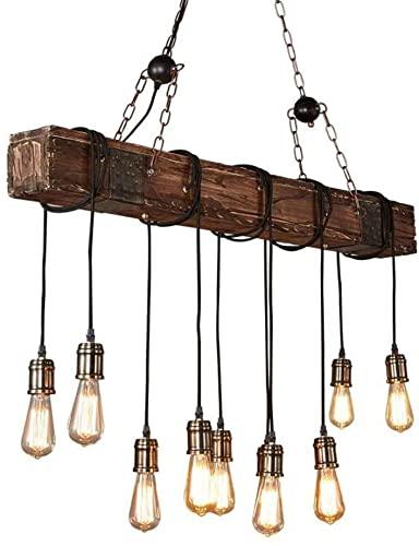 Lámpara Colgante De Luz De Techo De 10 Cabezas Para Barra Lámpara De Araña Industrial Estilo De Granja Retro Accesorio De Iluminación Viga De Madera Envejecida Oscura Luces Colgantes Lineales Grandes