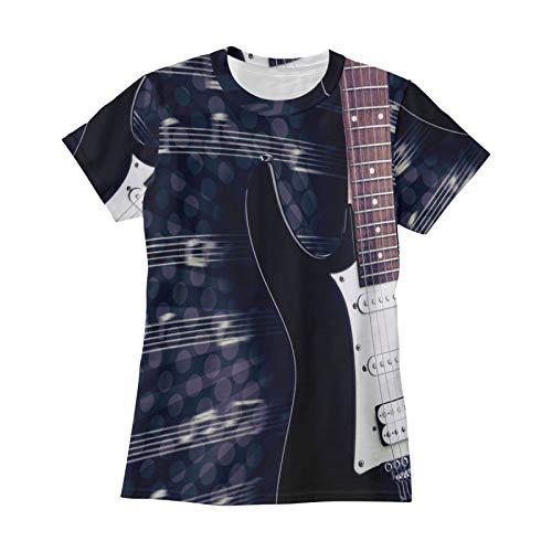 Ahomy Camisetas de mujer guitarra eléctrica música nota O-cuello jersey camisetas verano...