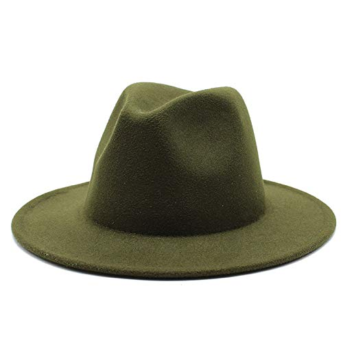 WAZHX Cappello Fedora A Tesa Larga all-Match per Donna Cappello in Feltro di Lana Tinta Unita per Uomo Autunno Inverno Panama Gamble Cappellino Jazz Giallo 56-61 Cm M56-58 Cm ArmyGreen