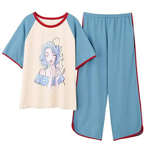 LEYUANA Conjunto de Pijamas de Talla Grande M-4XL para Mujer, Pijamas de Manga Corta de Verano, 100% algodón, Ropa de Dormir para Mujer, Pijamas Bonitos XXL CGE1009