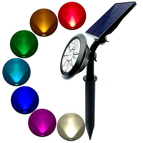 AOKARLIA Luces Solares LED Exterior Jardin LED Foco Solar Cambio de Color Luz de Paisaje al Aire Libre, Proyector Solar Exterior Impermeable IP65 para Jardín Camino Terraza,Colour,1.7W