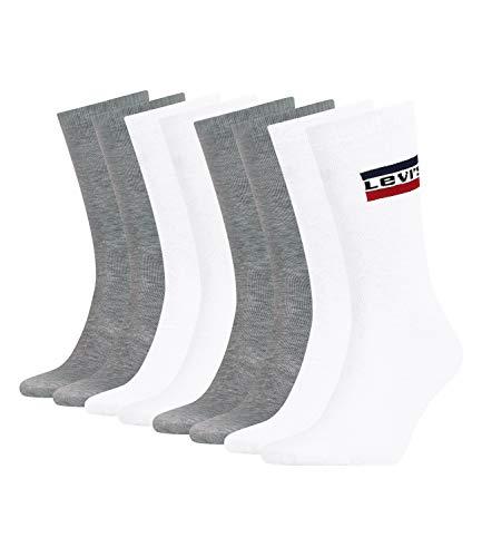 Levi's Unisex Tennissocken Strümpfe Sportswear Logo Socken 983041001 4 Paar, Farbe:Mehrfarbig, Größe:39-42, Menge:4 Paar (2x 2er Pack), Artikel:-062 white/grey