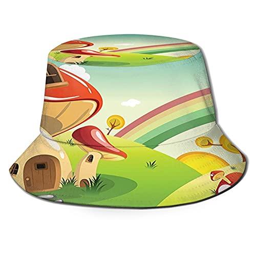 Mushroom Fantasy House Steppingstone Farm Field After Rain Unisex Bucket Hat Sun Hats Beach Hat Breathable Packable Black