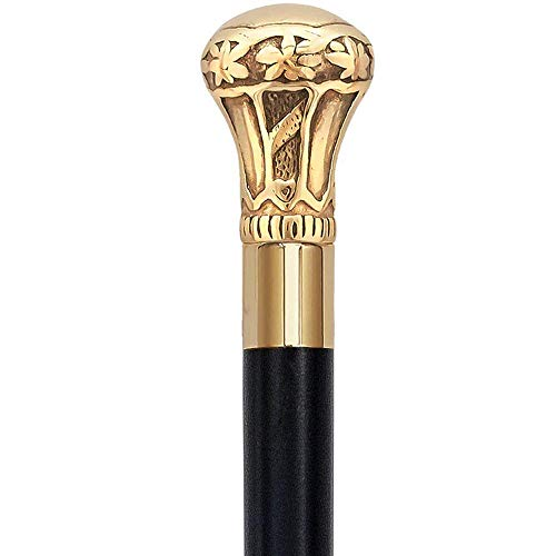 AnNafi Replica of Bat Masterson Cane| Decorative Defense Victorian Canes and Walking Sticks for Men & Women |Pewter Brass Handle Unisex Derby Cane| Lightweight Sturdy Folding Classic Walking Stick