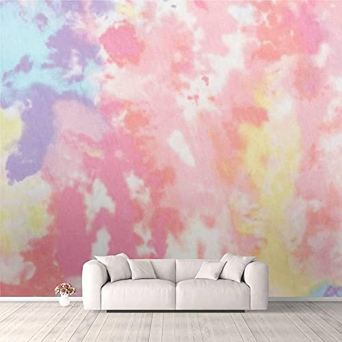 3D Wallpaper Pastel Colored tie dye Printed Fabric Texture Self Adhesive Bedroom Living Room Dormitory Decor Wall Mural Stick and Peel Background Wall Ceiling Wardrobe Sticker