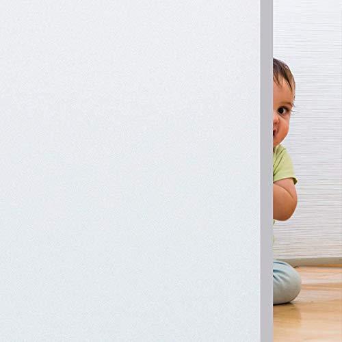 Rwest X Fensterfolie Selbsthaftend Blickdicht Sichtschutzfolie Fenster Milchglasfolie Statische Fensterfolien Anti-UV Folie Für Zuhause Badzimmer oder Büro (60 * 200 cm, Weiß)
