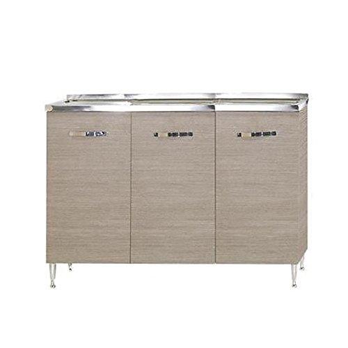 WEBMARKETPOINT Sottolavello per cucina larice grigio Cm 120x50xH 85 con 3 ante