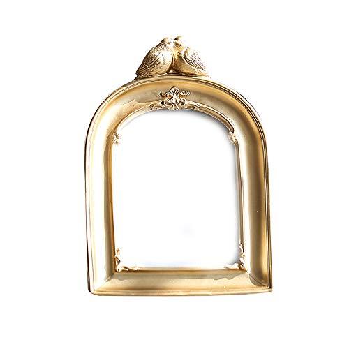 LJHA xiangkuang Cadre photo en relief, résine, éléments naturels, romantique, convient au salon, à la chambre, etc. (doré, 17cm / 12in * 12cm / 5in) Cadres photo