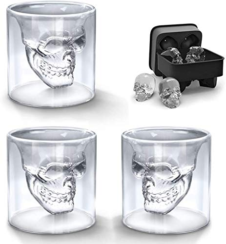 BeBr 3Pcs Crystal Skull Shot Glasses Double Wall Glass Cup with A 3D Skull Silicone Ice Cube Mold ,Cool Wine Glasses Beer Mug for Wine Cocktail Vodka ,Creative Home Halloween Party Bar Cup Gift(75ml)