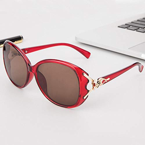 hqpaper Gafas de piedra de cristal natural Gafas de sol de moda para mujer Gafas de sol de espejo de piedra de marco grande-Tabletas de color de té con marco rojo vino