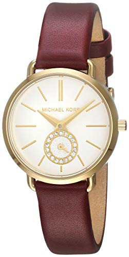 Michael Kors Women's Portia Stainless Steel Quartz Watch with Leather Strap, red, 12 (Model: MK2751)