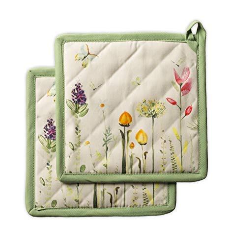 Maison d' Hermine Botanical Fresh 100% Baumwolle Set mit 2 Topflappen BBQ | Kochen | Backen | Mikrowelle | Grillen | Frühling/Sommer (20 cm x 20 cm)