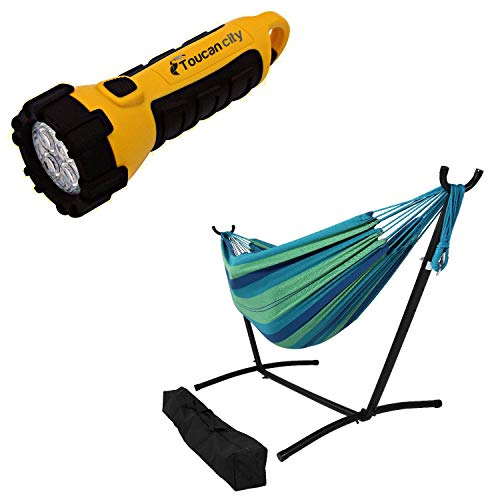 Toucan City LED Flashlight and Decor 10.5 ft. Fabric Cotton Double Brazilian Hammock with Stand Combo in Beach Oasis DB Combo-Oasis
