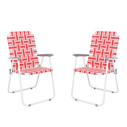Set of 2 Patio Folding Lawn Web Chairs, Portable Camping Chairs with Reinforced Aluminum, Pool Web Beach Chairs for Garden Beach Backyard Outdoor, Supports 265 LBS, Red YANFUN
