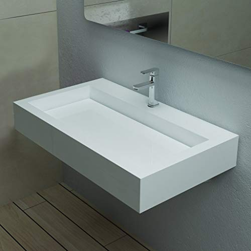 Find Discount ADM Rectangular Wall Mounted Stone Resin Sink, Glossy White, 32