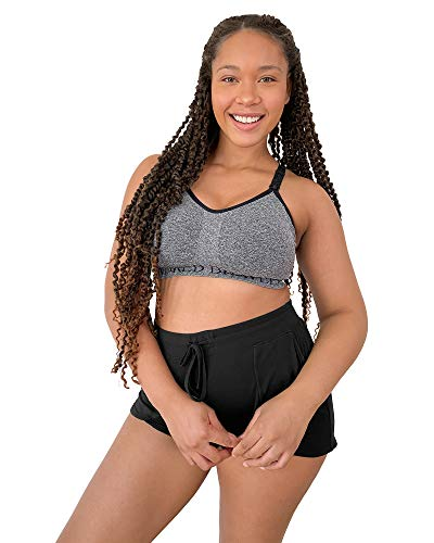Kindred Bravely Sublime Busty Low Impact Nursing & Maternity Sports Bra for F, G, H, I Cup (Grey Heather, Large)