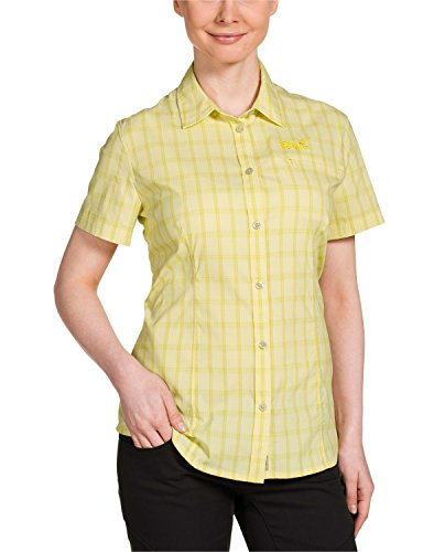 Jack Wolfskin Damen Bluse Centaura Stretch Vent Shirt, Lemonade Checks, L, 1401621-7555004