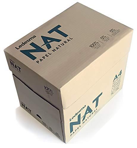 LEDESMA NAT:100% residuo de caña de azúcar, sin árboles, compostable, biodegradable. Impresión laser e inkjet DIN A4-75 gr/m2 color natural. Caja con 5 paquetes de 500 hojas: 2500 hojas. Reciclable.