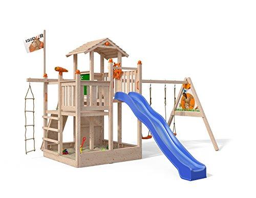 ISIDOR Fluppy Flu Spielturm mit Schaukelanbau und weiterem Zubehör Kletterturm Baumhaus Rutsche Schaukeln (Blau)