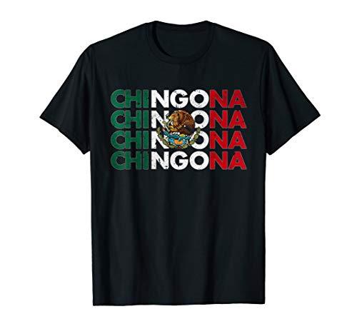 Chingona Mexiko Flagge Mexikanische Hemden für Frauen T-Shirt