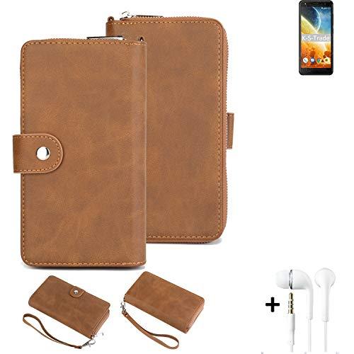 K-S-Trade Handy-Schutz-Hülle Für Energizer Power Max P490S + Kopfhörer Portemonnee Tasche Wallet-Hülle Bookstyle-Etui Braun (1x)