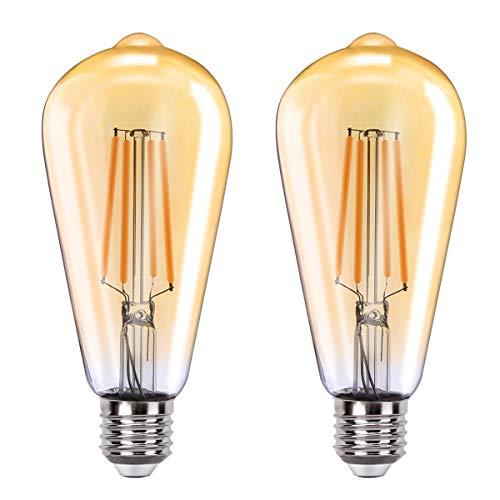 Orbecco WLAN Smart LED Glühbirne, E27 7.5W ST64 Filament Retro Edison Glühlampe, Dimmbar Glühfaden mit 2700K Warmweiß Licht, APP/Sprach Fernbedienung Kompatibel mit Alexa Google Home IFTTT - 2 Pack
