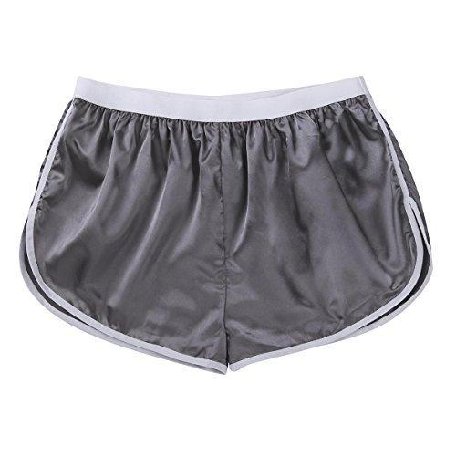 iEFiEL Herren Boxershorts Seide Look Glatt Sporthose Männer Unterhose Kurz Joggingshose Shorts Loose Hose M-XL Silber-grau Medium