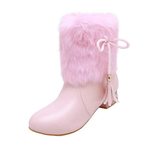 MEILISHOE Big Boy und Girl High Heel Prinzessin Stiefel Winter sowie Samt Mädchen Stiefeletten Laufsteg Prinzessin Schuhe,37,Pink